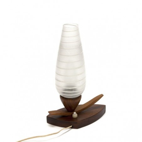 Glass table lamp with wooden base