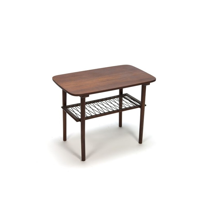 Side table in teak with black wire