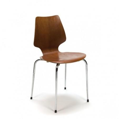 Gebogen houten stoel met chroom onderstel