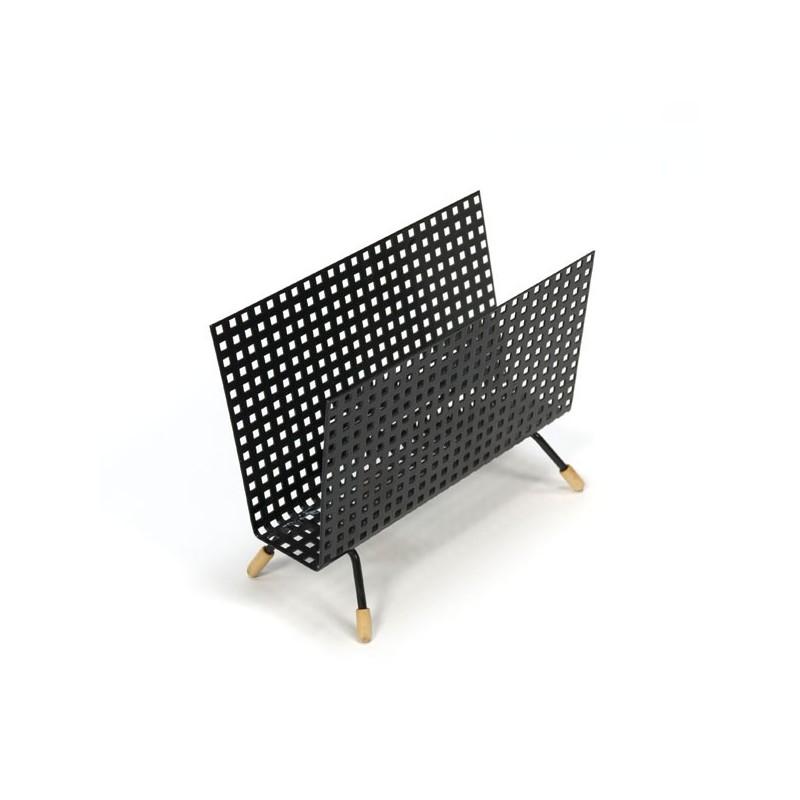Black perforated metal letter holder