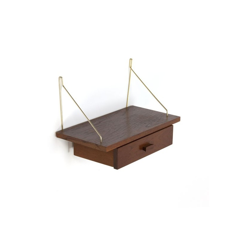 Teak shelf with drawer