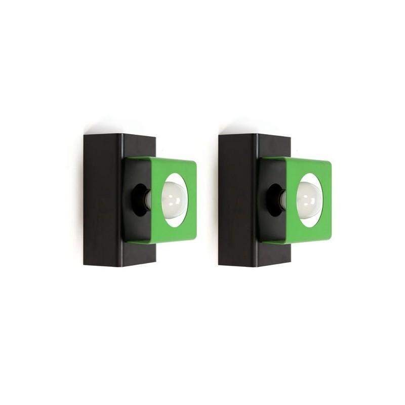 Set van 2 wandlampen groen/ zwart