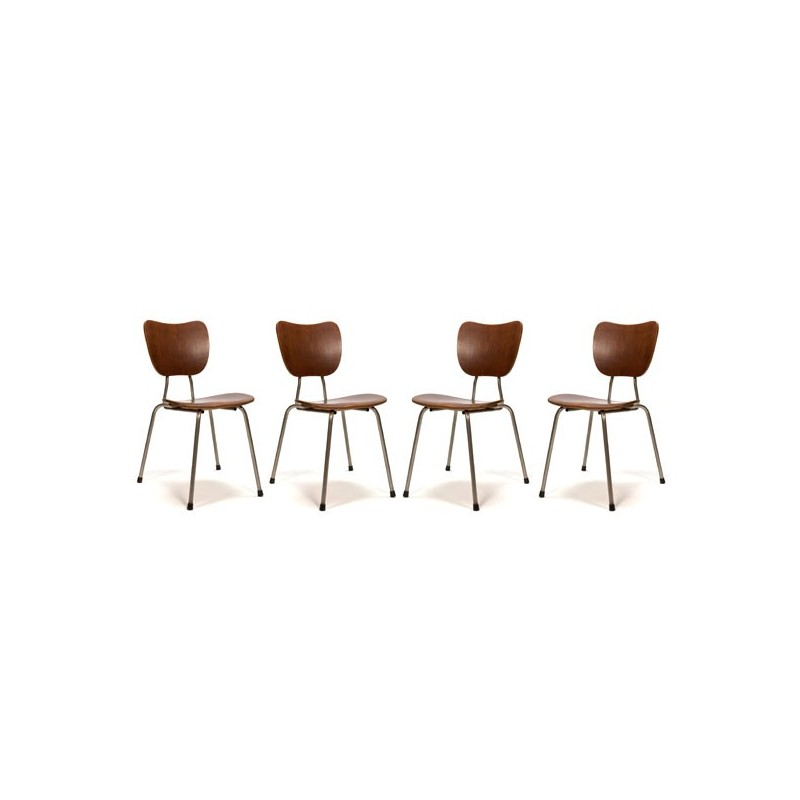 Set of 4 Danish stacking chairs with teak