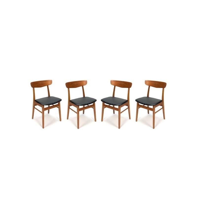 Set van 4 teakhouten Deense stoelen