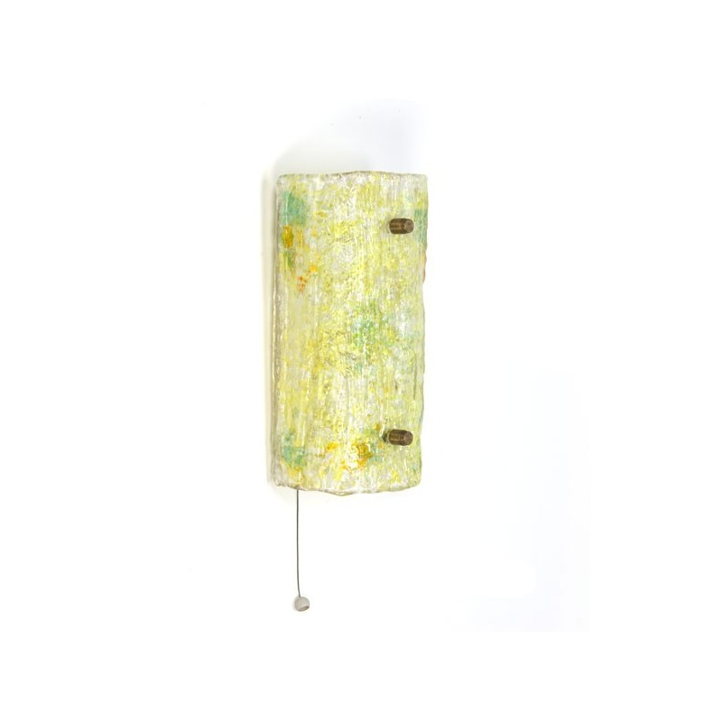 Glazen wandlamp geel tint