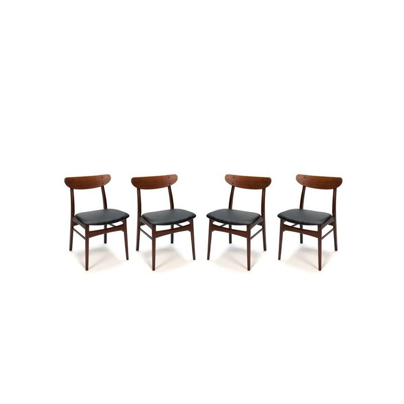 Set of 4 dark teak dining chairs