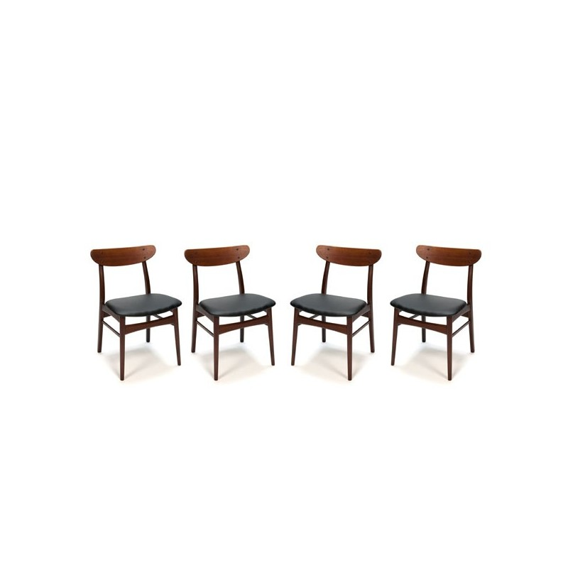 Set van 4 donker teakhouten stoelen