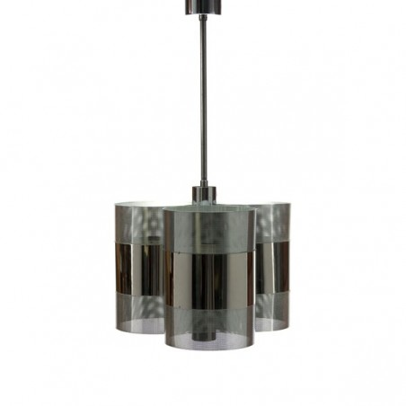 Chrome hanging lamp with perforated metal
