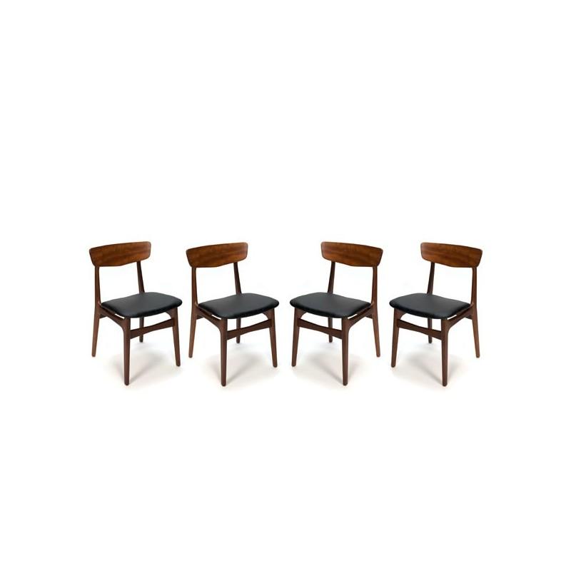 Set van 4 vintage teakhouten Deense stoelen