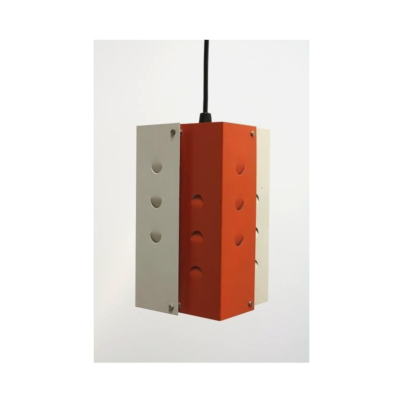 Orange/ white metal hanging lamp