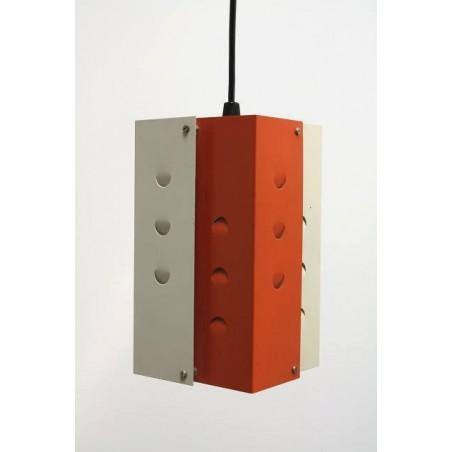 Oranje/ witte metalen hanglamp