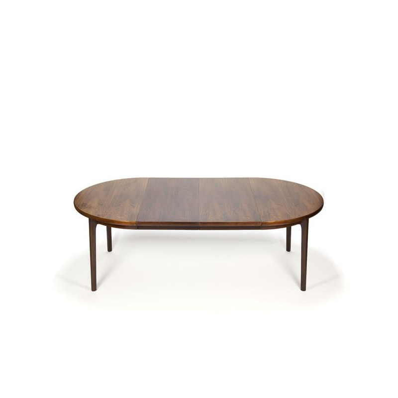Round rosewood dining table with 2 extra leafs