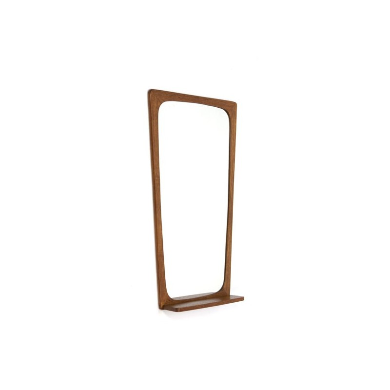 Teak mirror with oak shelf