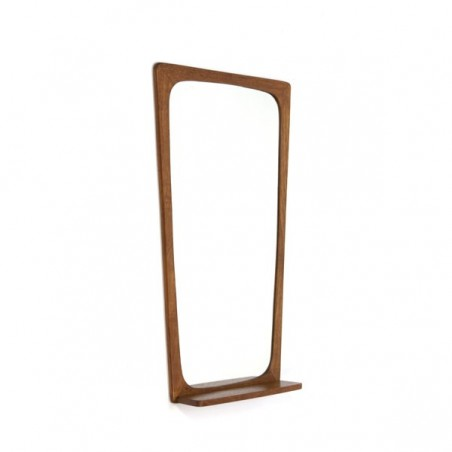 Teak mirror with oak shelf
