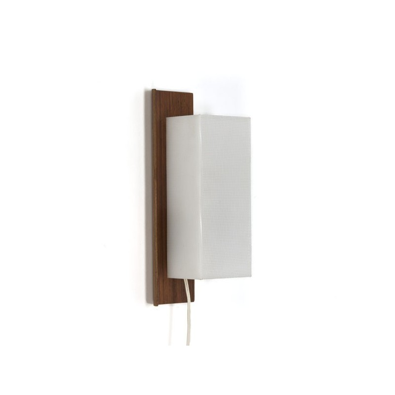 Wall lamp plywood with white plastic shade