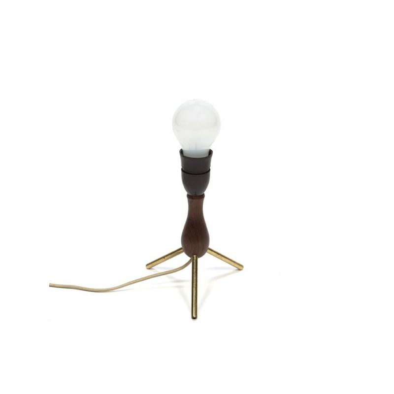 Teakhouten lampenvoet op driepoot