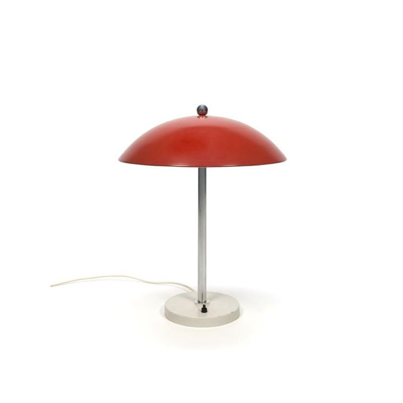 Rode tafellamp van W.H. Gispen