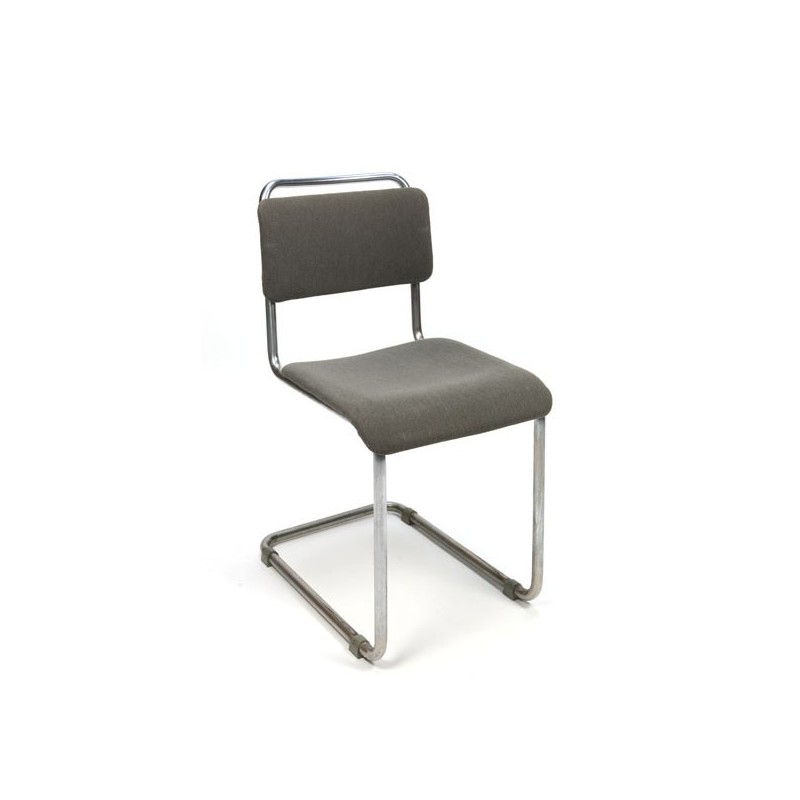 Gispen tube frame chair with corduroy