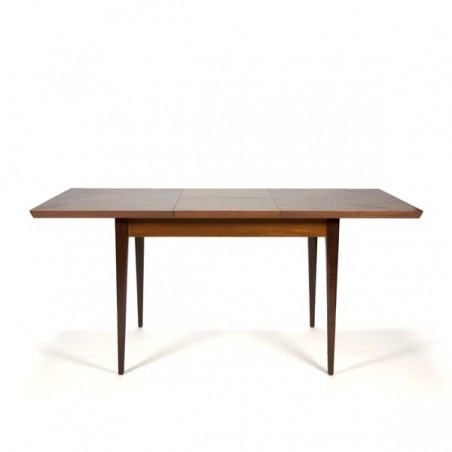 Teak dining table with extra leaf between