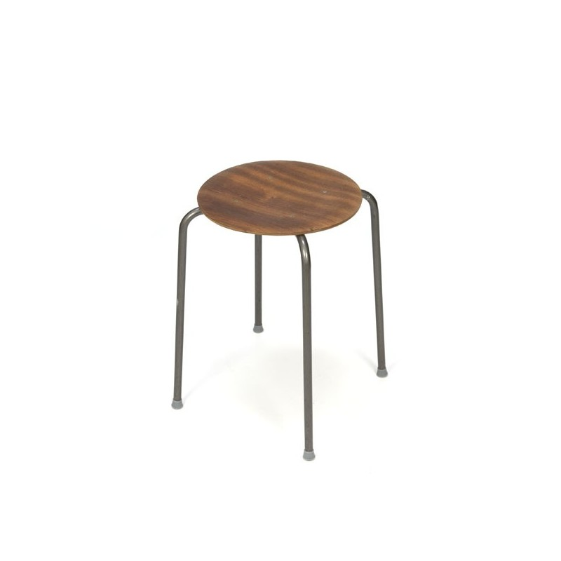 Industrial stool with teak seat