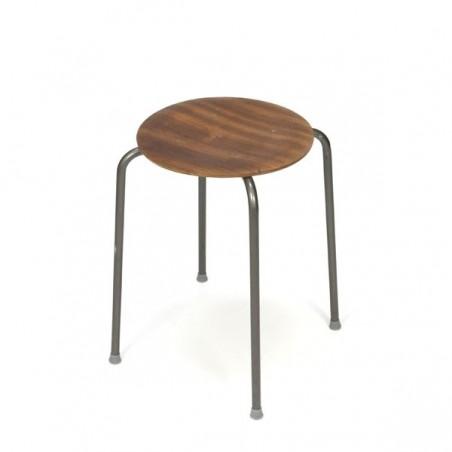 Industrial stool with teak seat