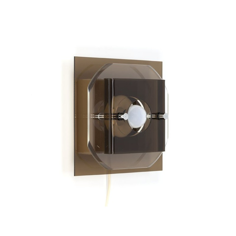 vintage vierkanten plexiglazen wandlamp