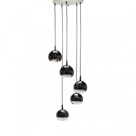 Chrome hanging lamp with 5 balls
