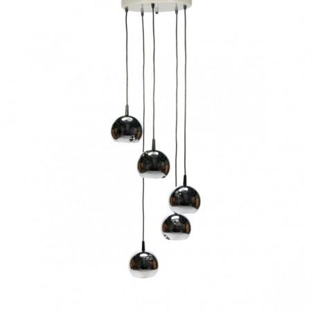 Chromen hanglamp met 5 bollen