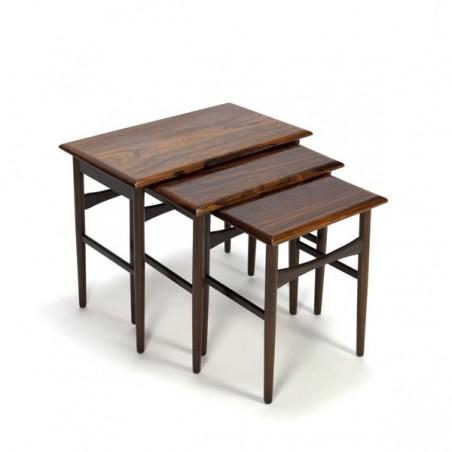 Set of 3 nest tables in rosewood