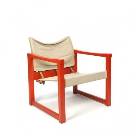 Houten fauteuil met jute zitting ontwerp Karin Mobring