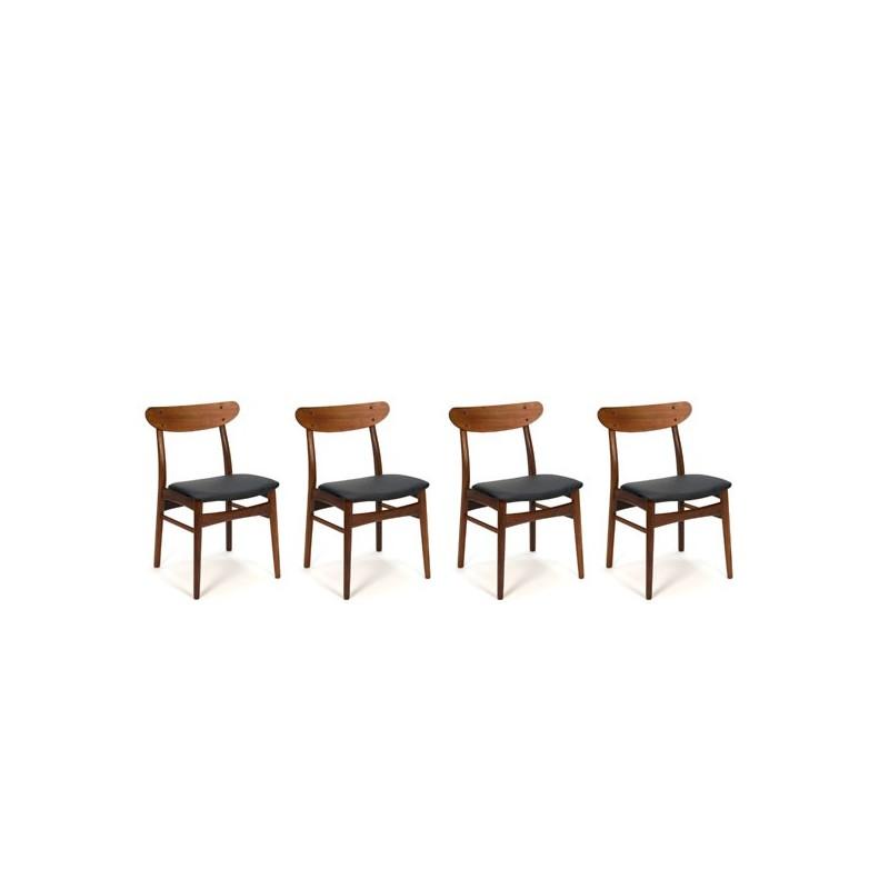 Set van 4 Deense design stoelen