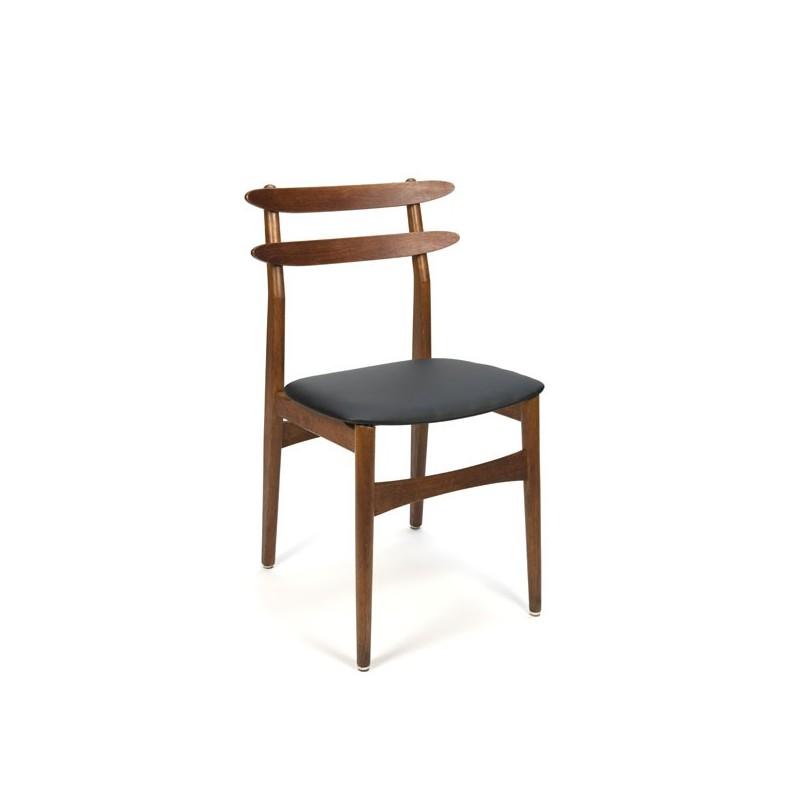 Deense teakhouten stoel bijzondere rugleuning