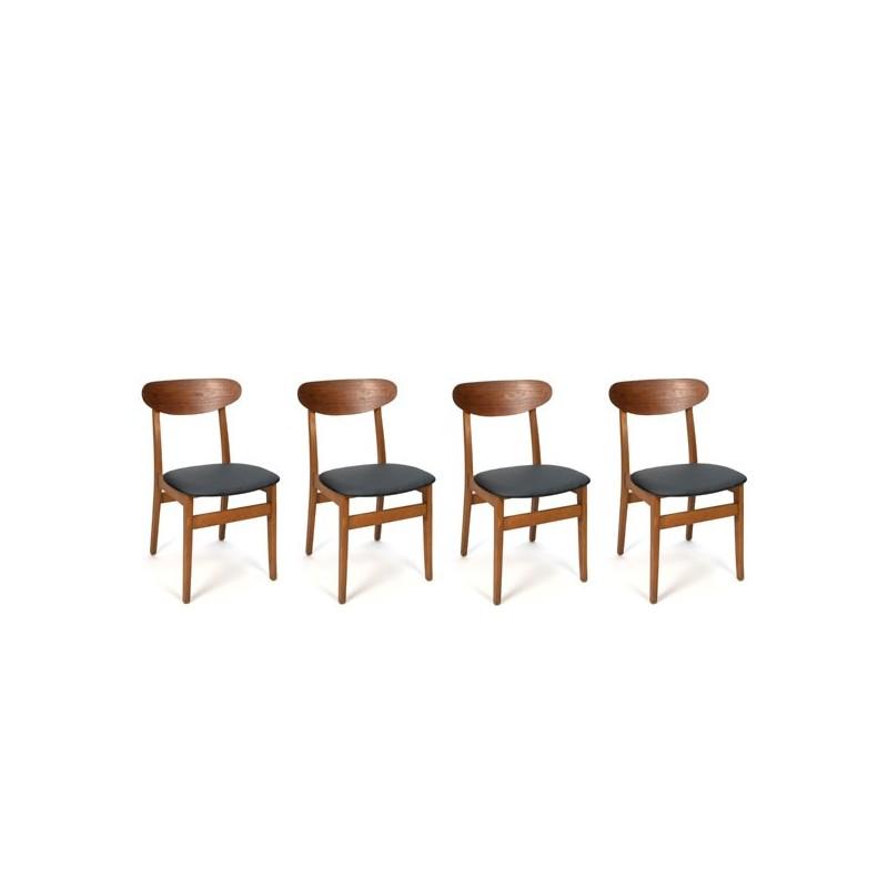 Set van vier Deense design stoelen