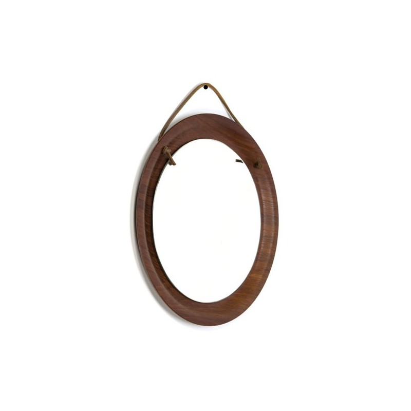 Small mirror on leather cord