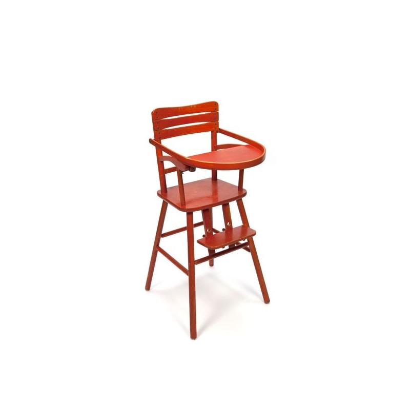 Wooden highchair orange red