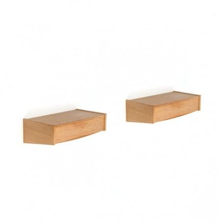 Set van 2 kastjes met lade in eiken