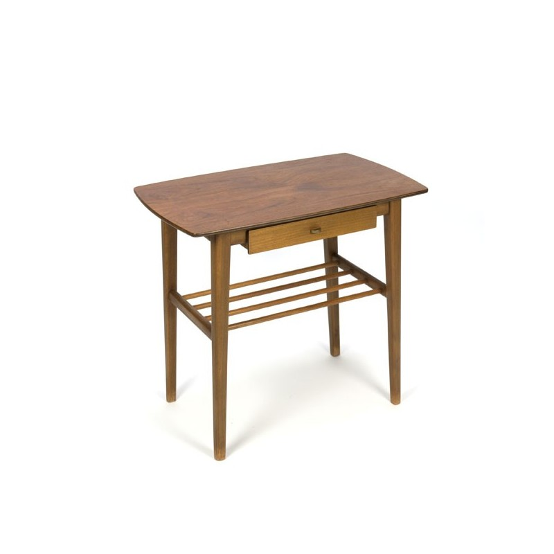 Side table with small drawer in teak