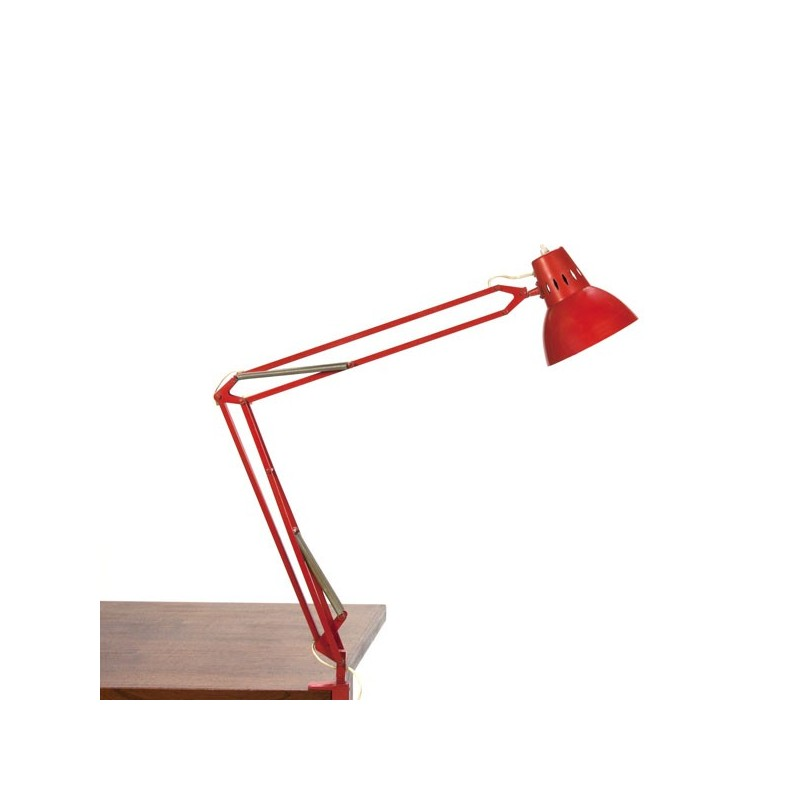 Rode bureau-/ klemlamp uit de sixties