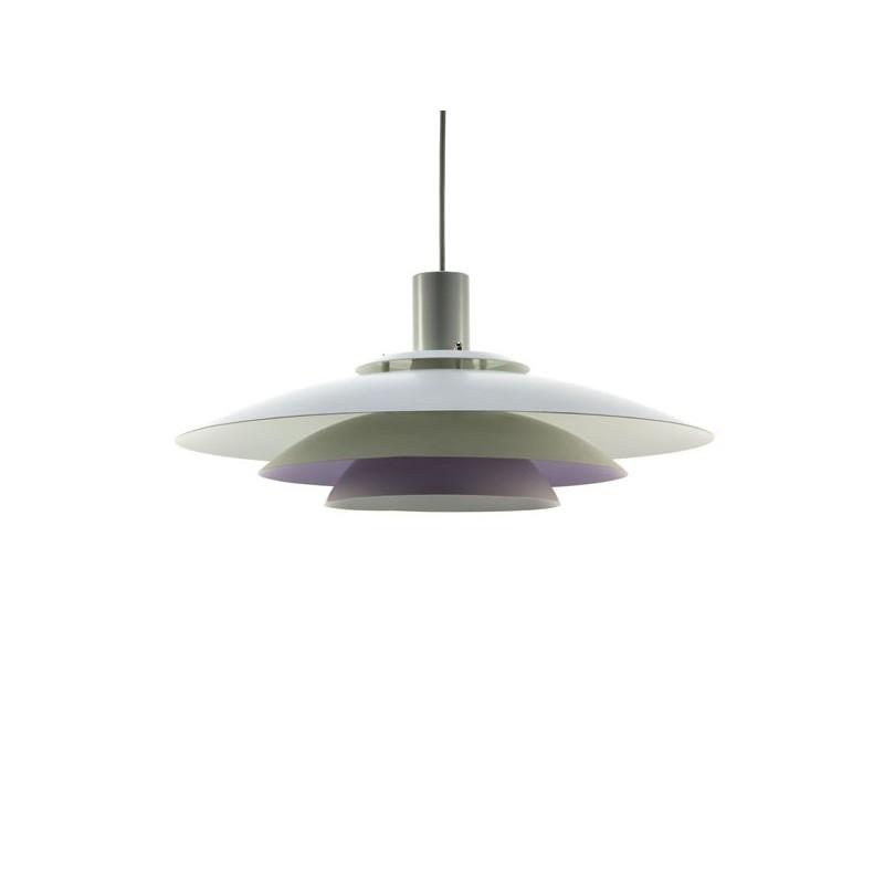 Witte schijven hanglamp met lila binnenwerk