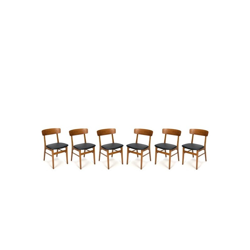 Set of 6 Danish design chairs with backrest in teak