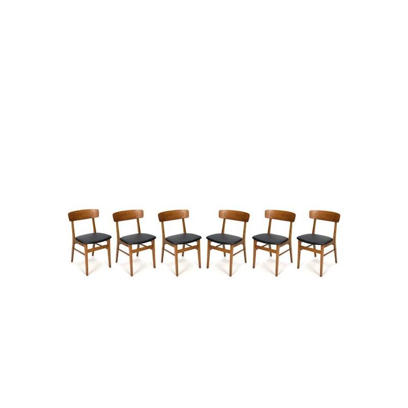 Set van 6 Deense design stoelen met rugleuning in teakhout