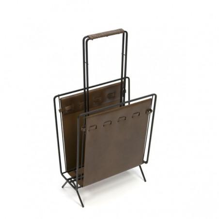 Magazine holder with brown skai