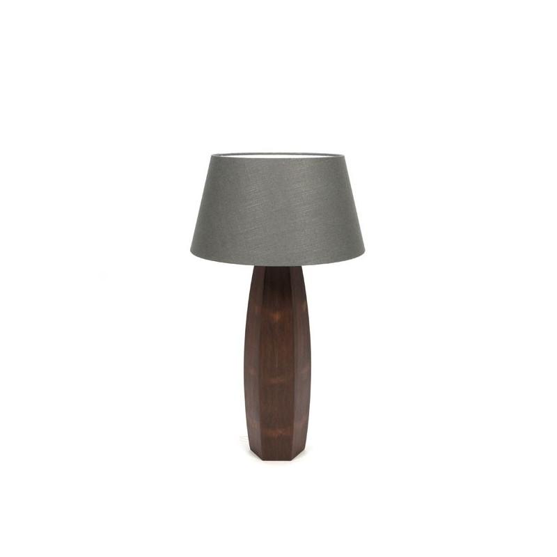 Grote tafellamp op teakhouten voet