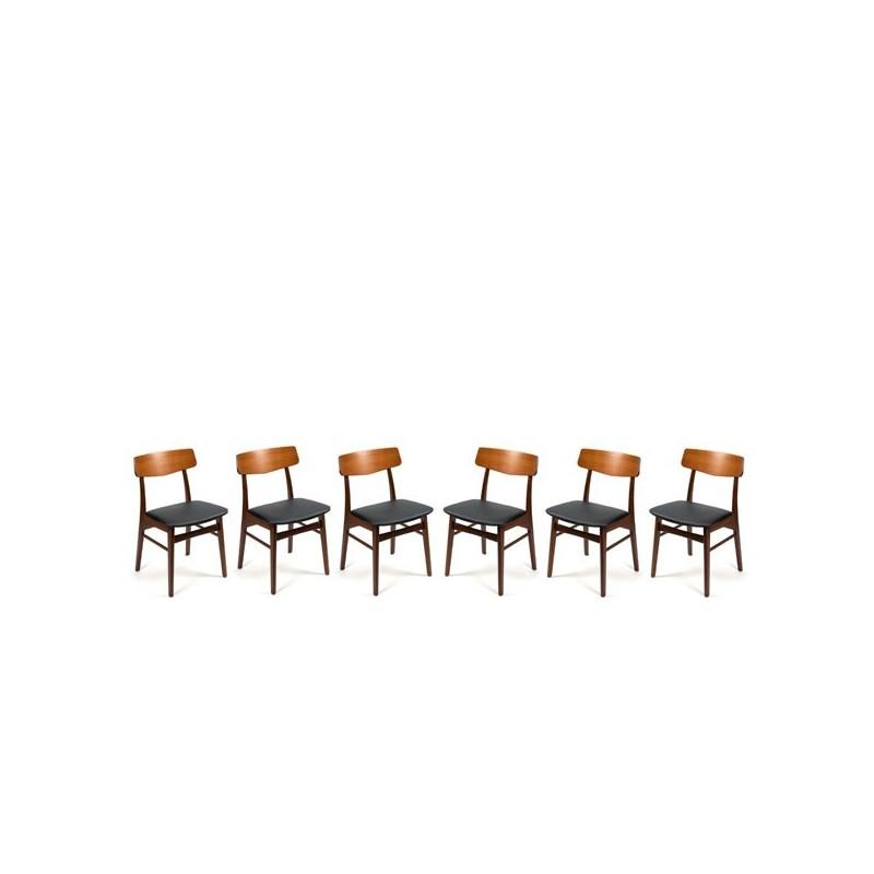 Teakhouten stoelen uit Denemarken set van 6