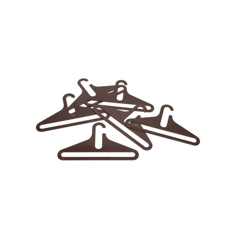 Set of 6 brown plastic clothes hangers
