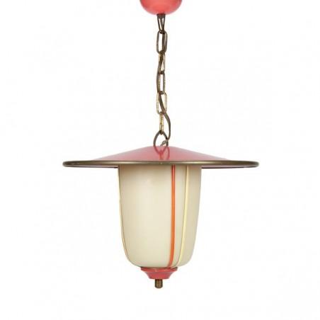 Rood/ roze hanglamp uit de fifties