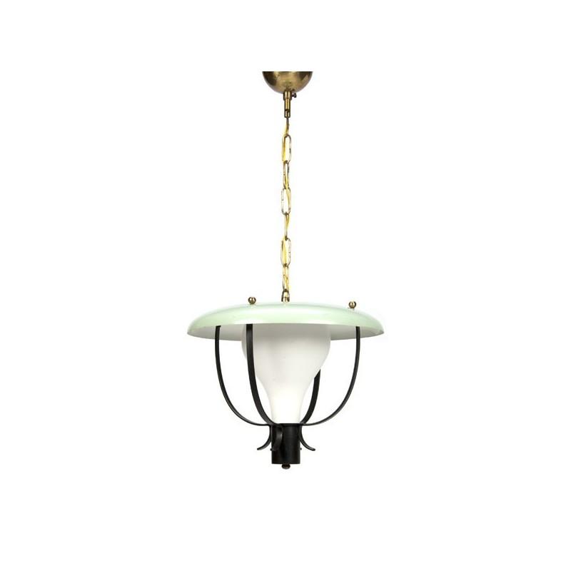 Hanglamp uit de fifties met mint groene kap