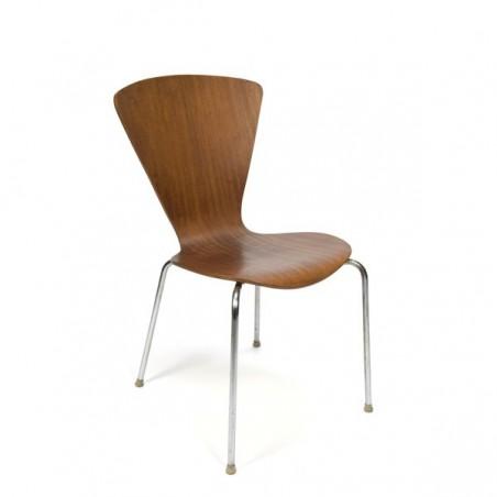 Plywood chair on chrome base