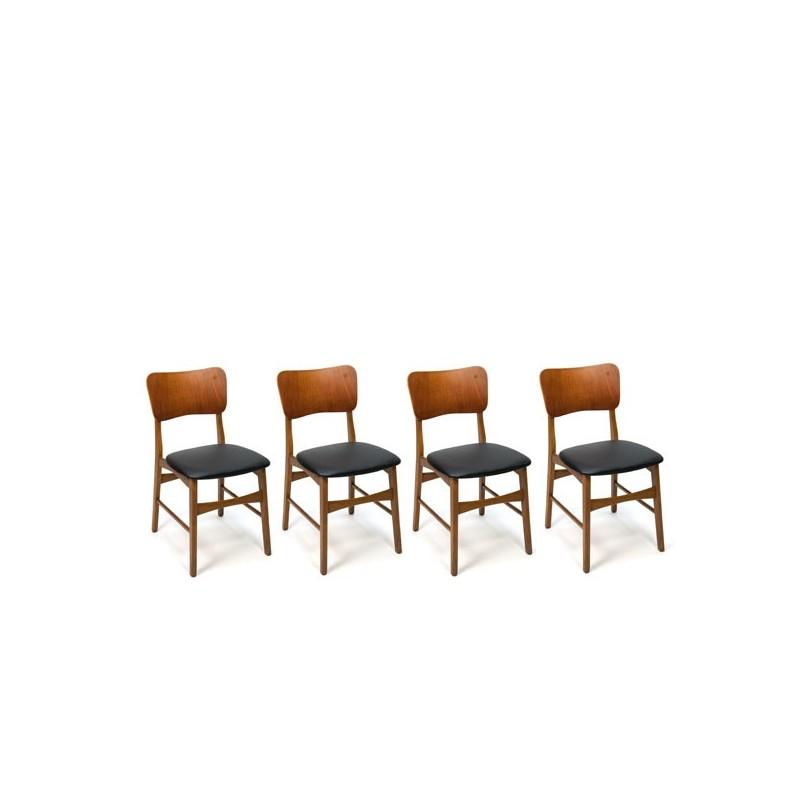 Deense stoelen met teakhouten rugleuning set van 4