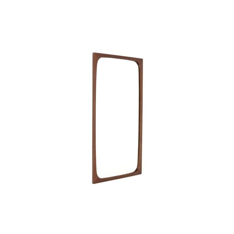Teakhouten spiegel met ronde hoeken